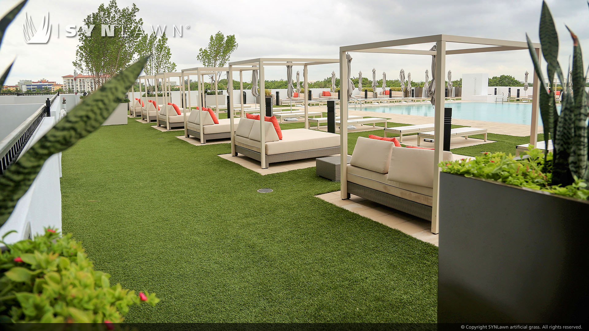 artificial landscaping in a poolside setting