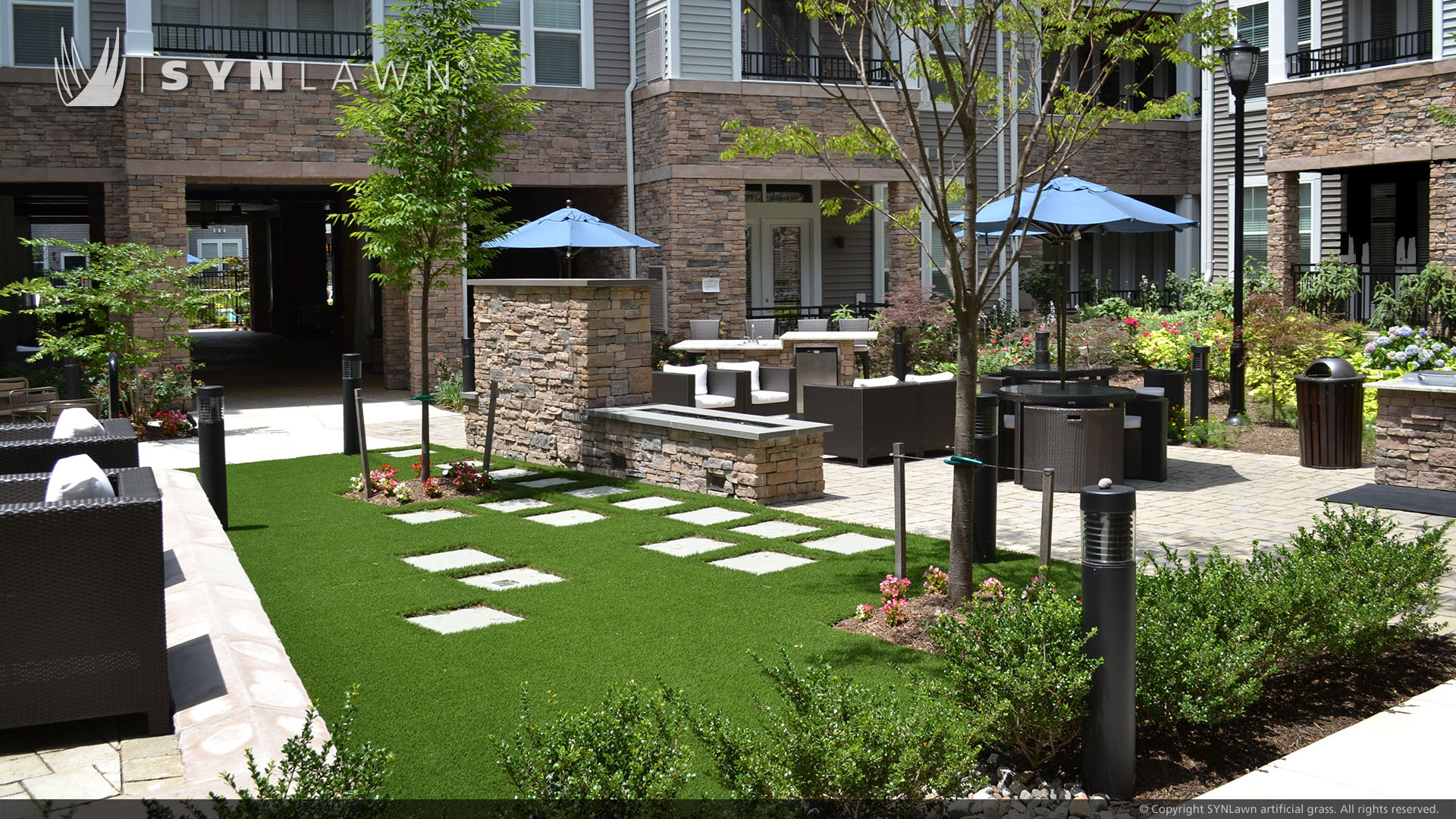 Wholesale artificial grass in a Pennsylvania courtyard